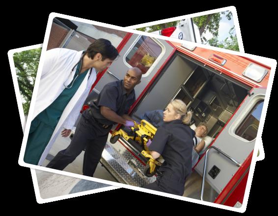 senior being taken to the ambulance